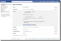 FB Konto eMail-Einstellungen