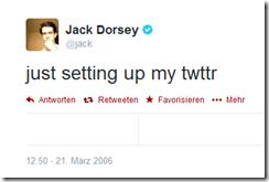 2006-03-21 Jack Dorsey's erster Tweet