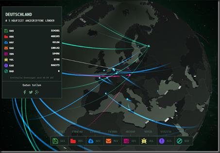 Karte - Hackerangriffe (Kaspersky)